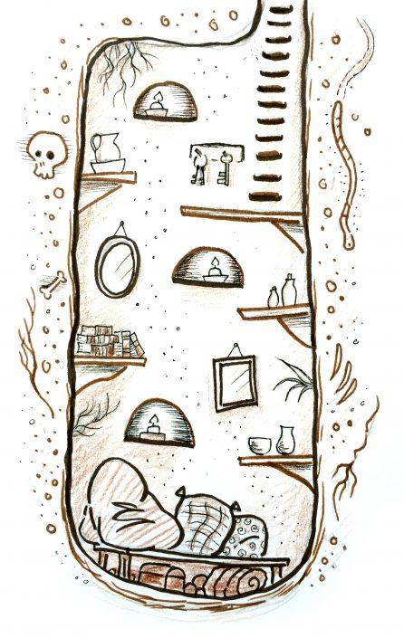 Subterranean Home, brush pen and pencils