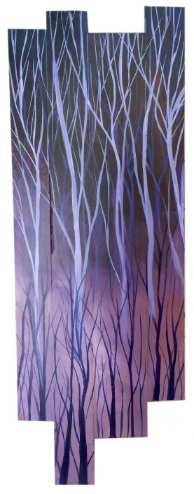 Purple forest, acrylic on wood assemblage, 10.5x29.5 (sold)