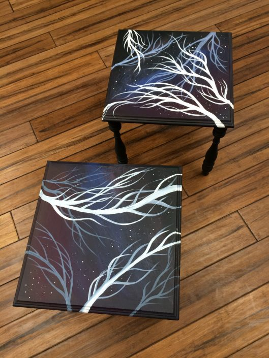 Nebulae Table Set, acrylic on wood