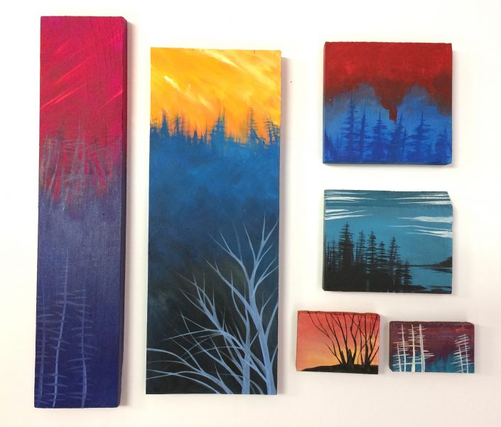 Mini paintings, acrylic on wood blocks