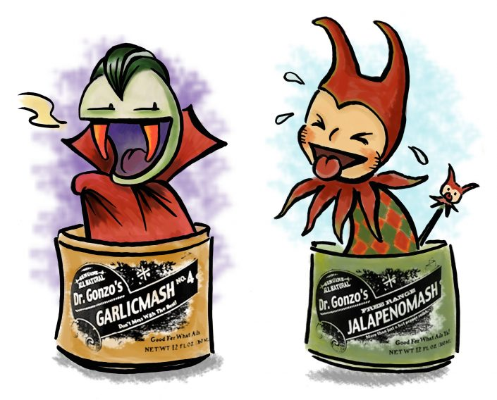 Promotional illustration for Dr. Gonzo's Uncommon Condiments, ink and digital media