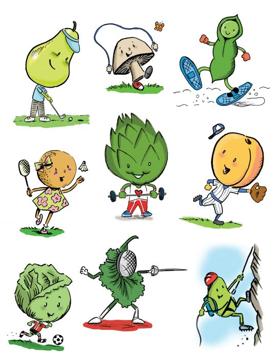 Character illustrations for 'The Green Box League of Nutritious Justice' Green Box foods, Norcross, GA. Ink and digital media