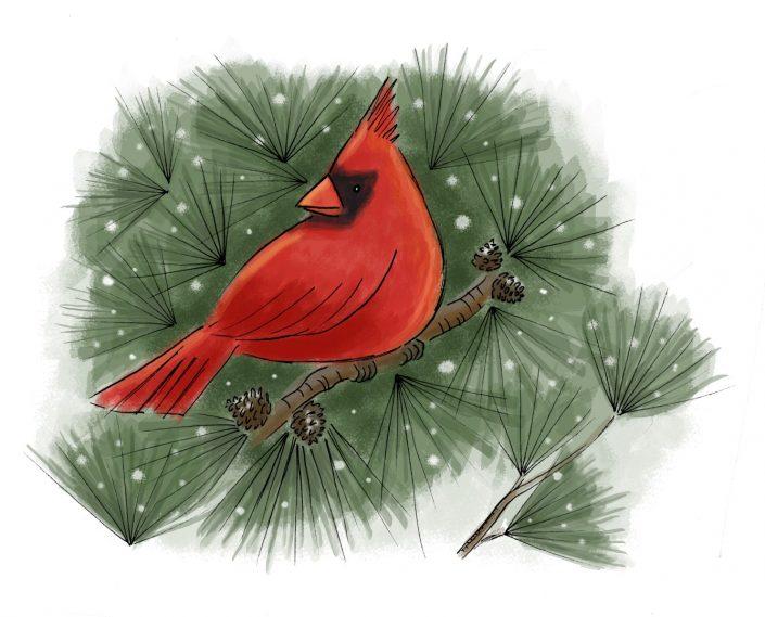 Holiday card artwork for Howard Printing, Inc., Brattleboro VT. Ink and digital media