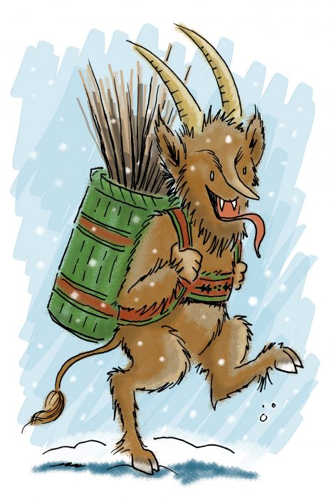 Winter illustration: The Krampus. Ink and digital media
