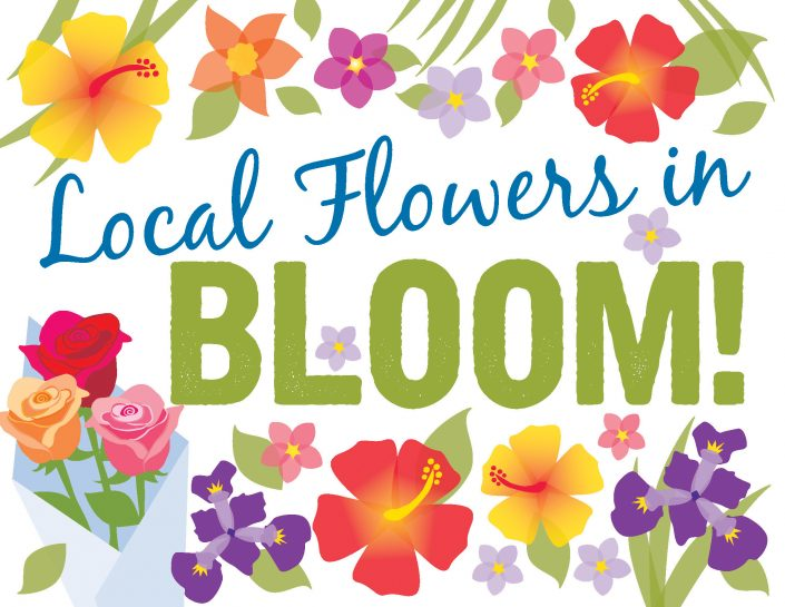 Local Flowers in Bloom, poster design for the Brattleboro Food Co-op, VT. Digital illustration