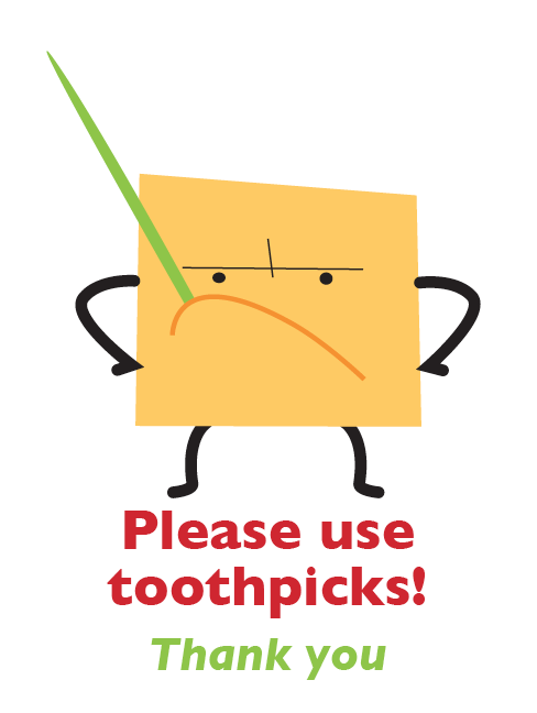 'Please use toothpicks' Directional signage for Brattleboro Food Co-op, VT.