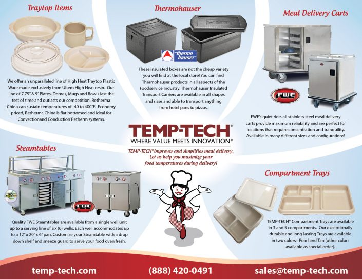Informational design for Temp-Tech, Hatfield MA: postcards, trifold brochures, web banners, convention displays.