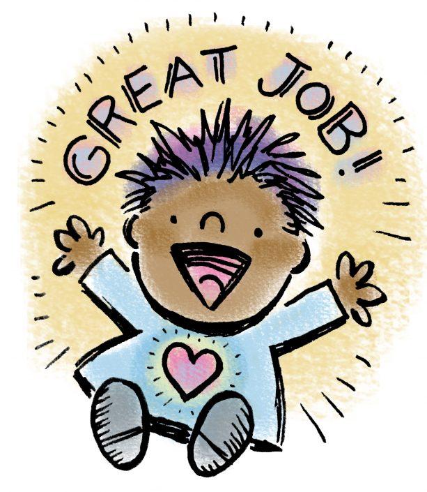 Great Job reward sticker, ink and digital media
