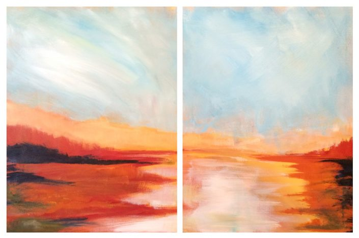 Marsh Sunrise, acrylic on canvas, 18x24 (each panel)